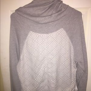 Hoodie with cowl neck and lace front